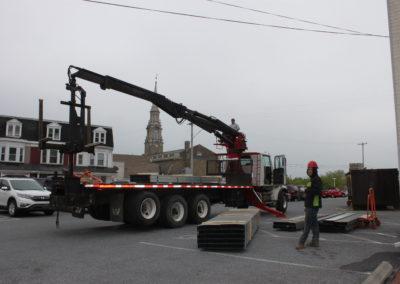 Building supplies arrive