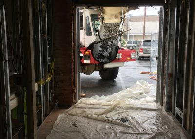 Concrete delivery from the inside view
